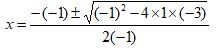 Quadratic Formula Example 1