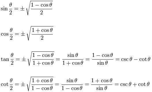 Trigonometric Identities Half Angles