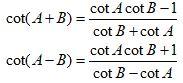Trigonometric Identities Sum Cot
